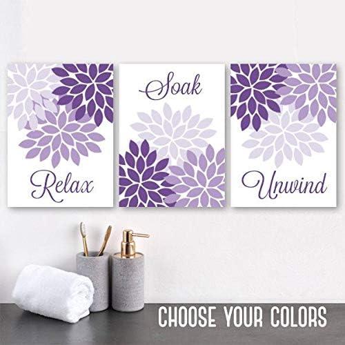 Amazon Com Purple Flower Bathroom Wall Art Purple Flower Bathroom Decor Canvas Or Prints Relax Soak Unwind Quote Purple Bathroom Quotes Set Of 3 8x10 Inch Posters Prints