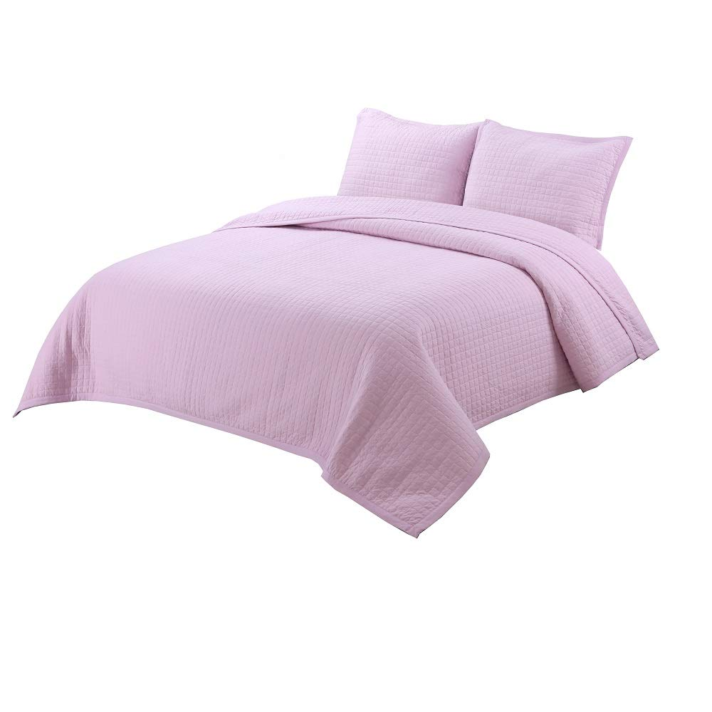 vivinna home textile Soft Washed Quilt Queen Size Pink Colour for Girl Summer Quilts Sets as Lightweight Bedspread or Reversible Coverlet by vivinna home textile