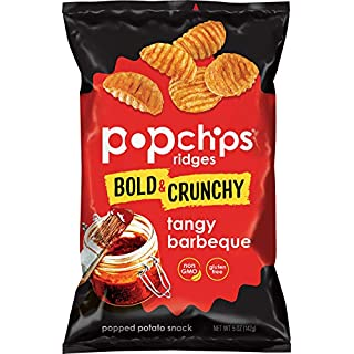 Popchips Ridges Tangy Barbeque Potato Chips 5 oz Bags (Pack of 12)