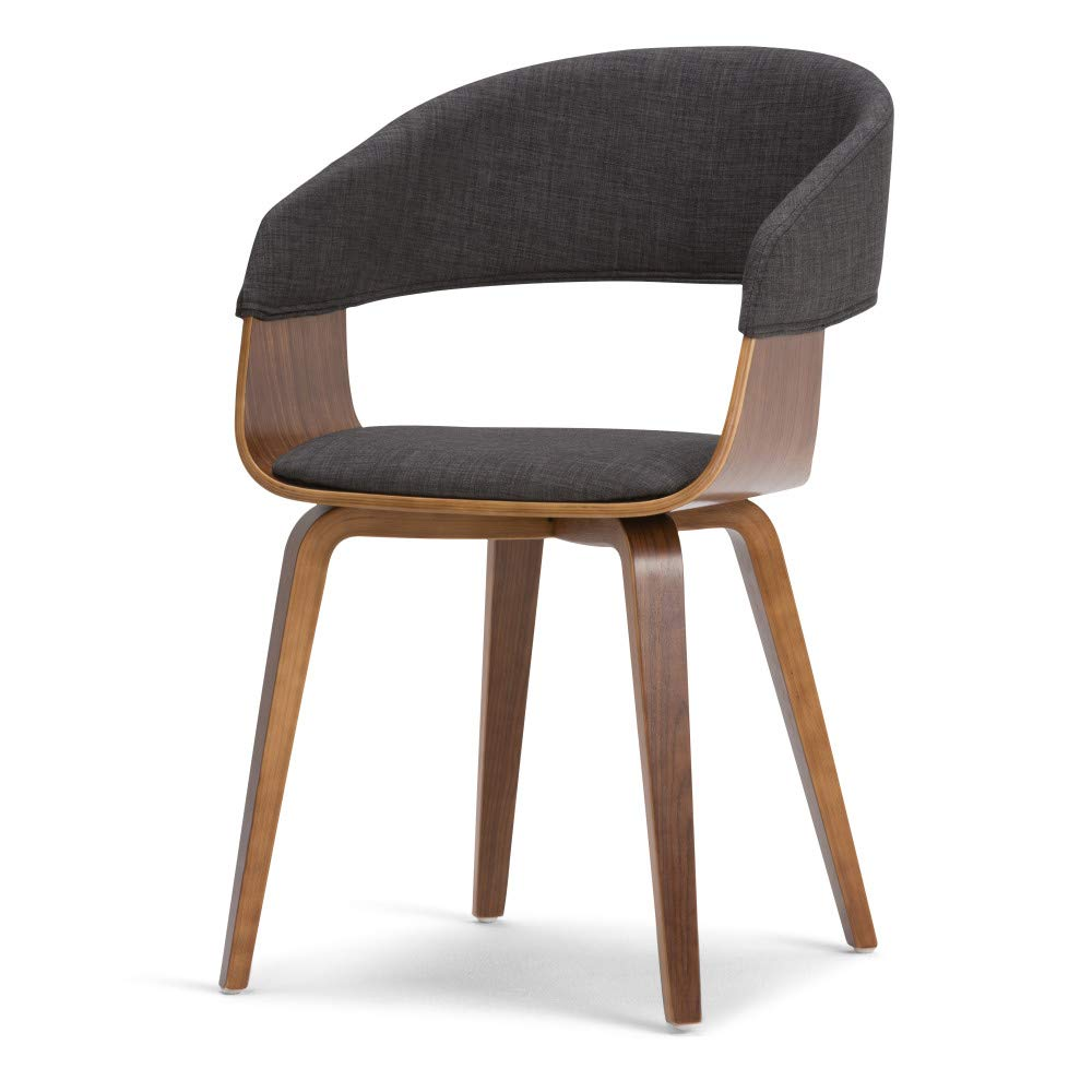 Simpli Home AXCLOW-G Lowell Mid Century Modern Bentwood Dining Chair in Charcoal Grey Linen Look Fabric