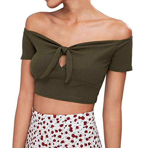 YEZIJIN Fashion Women Slash Neck Short Sleeve Off Shoulder Bow Tie Hollow Out Crop Top 2019 New Sexy T-Shirt Green