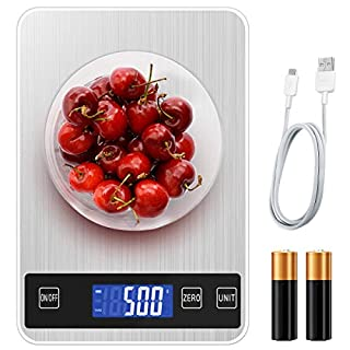 BILLKAQ Digital Kitchen Scale Food Scale, Stainless Electric Cooking Scales Electronic| 5kg/11lb Premium Weighing Scales with LED Display,Tare and PCS Features,for Kitchen,Ingredients,Jewellery,Drug