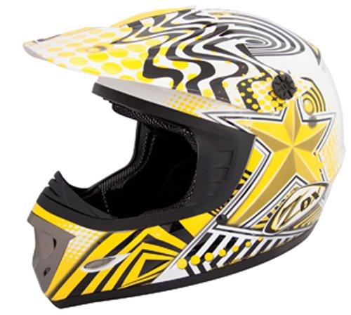ZOX Rush Junior Off-Road Helmet with Star Graphic (Yellow/Black, Medium)