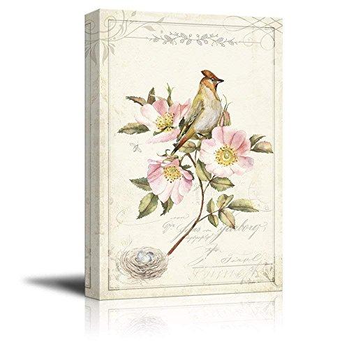 Vintage Style Pink Flower Bird Bird Nest