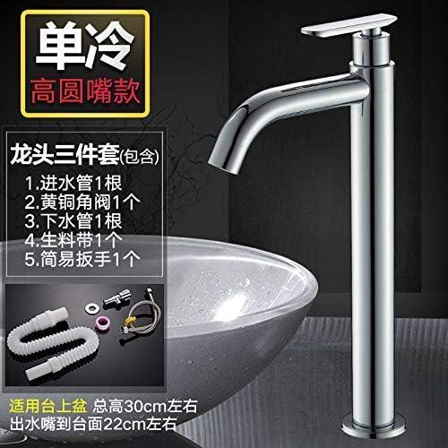 CHENBIN-BB シングルコールド蛇口バルコニー洗面台の蛇口洗面台シングルバスルームバスタブ蛇口、シングルラウンド高める3つのセット