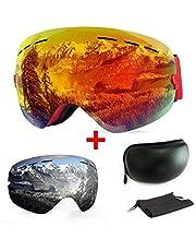 [2019 NEW]Skibrille, mit Beschlag- und UV-Schutz, für Wintersportarten, Snowboardbrille mit austauschbarer, sphärischer Dual-Linse, für Männer, Frauen und Jugendliche, für Schneemobil-, Skifahren oder Skaten