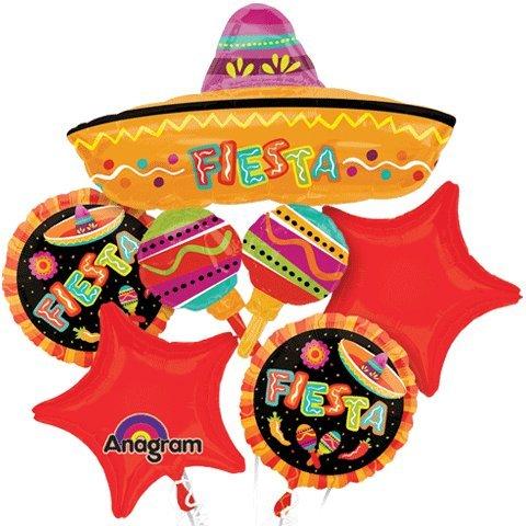 Anagram Spanish Fiesta Fun Party Mylar Foil Balloon Bouquet -