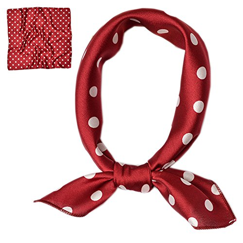 (Patiky Women Silk Neckerchief Polka Dot Small Square Neck Scarf for Women PSSJ01 (Burgundy))