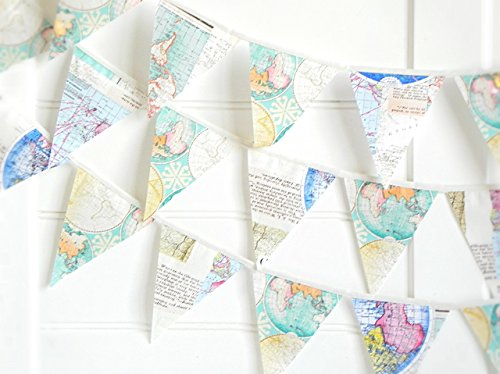 Map Bunting Banner by A Fête Beckons / Map Garland for Travel Theme Party Supplies Adventure Awaits Baby Nursery Teacher Gifts 100% Handmade 9 - Map Banner
