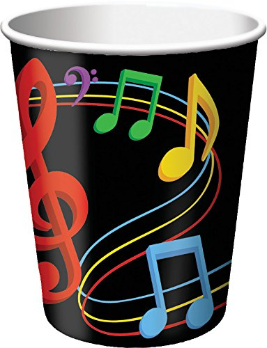 Creative Converting 8 Count Dancing Music Notes Hot/Cold Cups , 9 oz, Multicolor