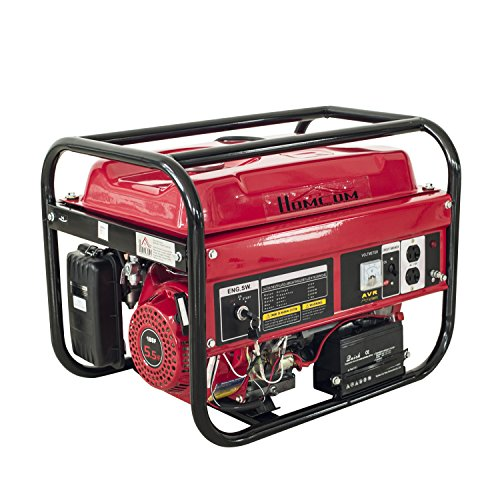[HomCom 5.5HP 2000 Watt 4-Stroke Gas Powered Portable Generator - Red] (Compact Diesel Generator)