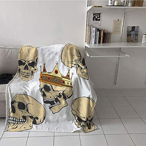 Khaki home Children's Blanket Stroller Warm All Season Blanket for (70 by 90 Inch,Skull Decor,Skulls Different Expressions Evil Face Crowned Death Monster Halloween,Sand Brown Yellow]()
