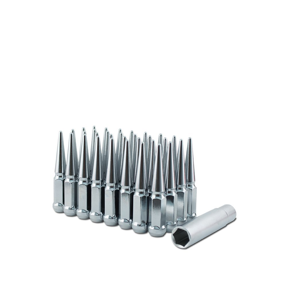 Metal Lugz Spiked Lugz Chrome 14x1.5 Thread 4.4 Overall Length kit Contains 24 Lugs /& 1 Key