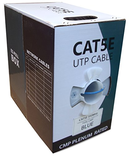 CAT5E PLENUM 1000FT SOLID 350MHZ 24AWG UTP BULK BLUE CMP NETWORK LAN CABLE