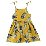 Yamally Yellow Girls Dress Baby Girls Vintage Floral Dress Birthday Party Toddler Dress