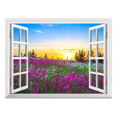Removable Wall Sticker Wall Mural Beautiful Summer Sunrise Over a Blossoming Meadow Creative Window View Wall Decor, That's 100% USA Made, Magnificent Piece
