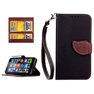 Leaf Magnetic Snap Litchi Texture Horizontal Flip Leather Case with Card Slots & Wallet & Holder & Lanyard for Microsoft Lumia 640 (Black)