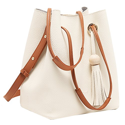 Turelifes Tassel Buckets Totes Handbag Women's Casual Shoulder Bags Soft Leather Crossbody Bag White -
