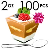 DLux Mini Dessert Cups, Appetizer Bowls & Spoons & Recipe e-Book [Clear Plastic, 2 oz, Square Short, 100 Count] Small Catering Supplies, Disposable Tasting Glasses, Parfait Tumblers, Shooters