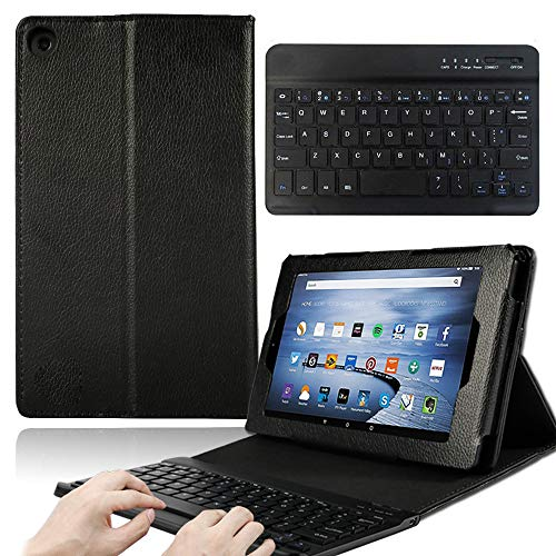 AmaBe for Amazon Fire HD 8 Inch Tablet Alexa (8th / 7th / 6th Generation -2018, 2017 and 2016 Release) - Folio Leather Smart Folding Stand Cover Case with Wireless Bluetooth Keyboard Black