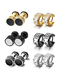 Aroncent 12 PCS Stainless Steel Hoop Earrings for Men Women Huggie Earrings Unique Greek Key