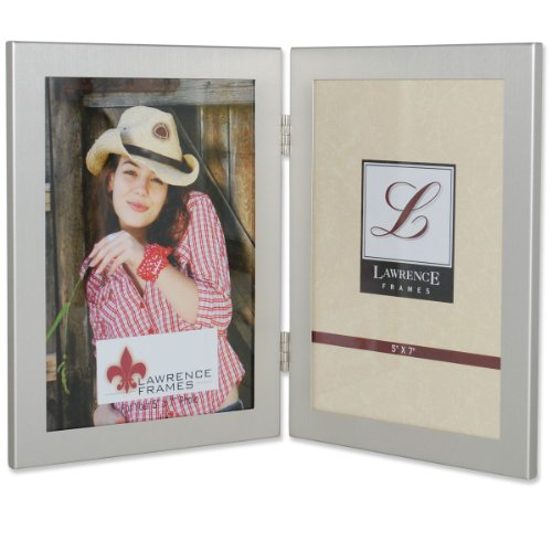 Lawrence Frames Brushed Silver 5 by 7 Hinged Double Metal Picture Frame