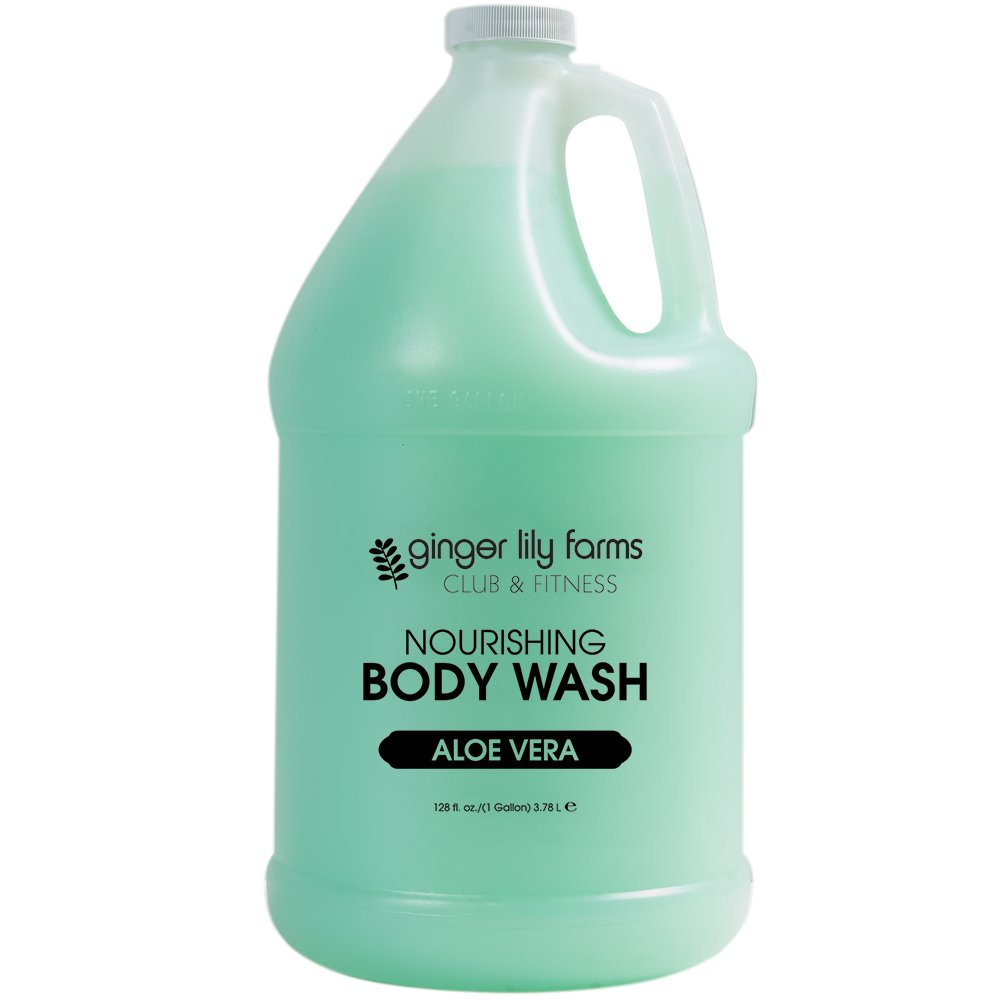 Ginger Lily Farms Club & Fitness Aloe Vera Nourishing Body Wash, Softens, Nourishes and Cleans Skin, 100% Vegan and Cruetly-Free, 1 Gallon