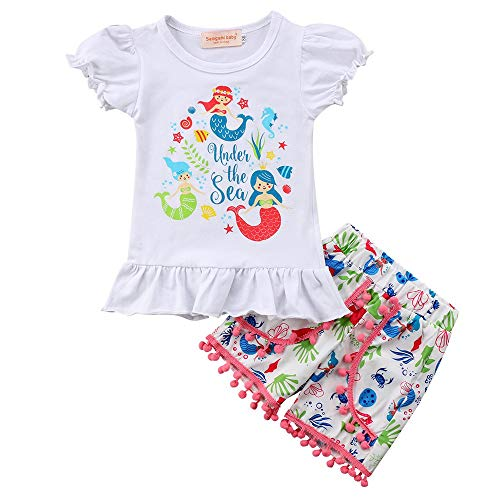 YOUNGER TREE Toddler Kids Baby Girls Mermaid Top T-Shirt Short Pants Clothes Set Summer Clothing Outfit Set (Whtie, 2-3 ()