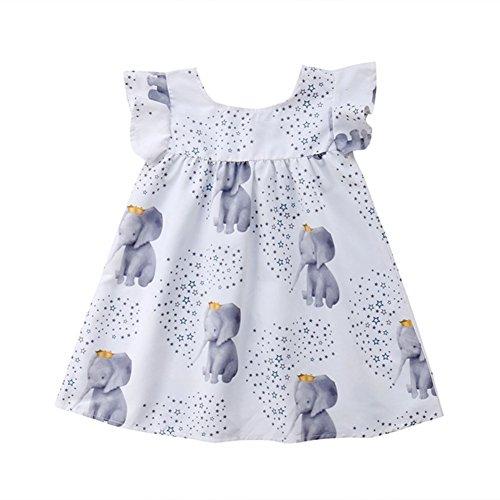 Newborn Toddler Kid Baby Girl Pretty Princess Dress Elephant Stars Summer Sleeveless Sundress Ruffle Dress 1-5T by Generic