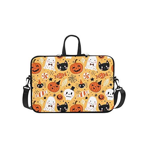 Halloween Pumpkin Ghost Cat and Skull Pattern Briefcase Laptop Bag Messenger Shoulder Work Bag Crossbody Handbag for Business Travelling -