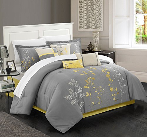 Chic Home 12-Piece Bliss Garden Embroidered Comforter Set, Yellow, Queen from Chic Home