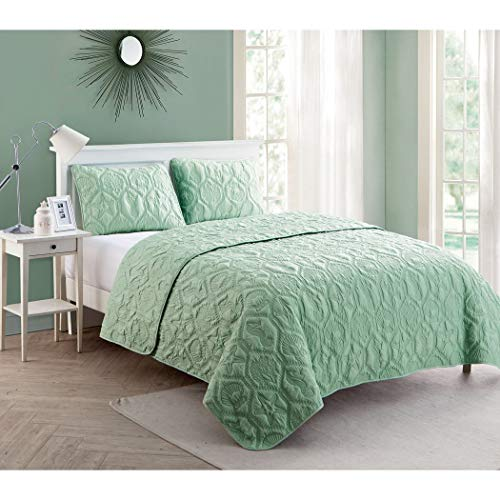 3pc Seafoam Green Embossed Seashell Theme Quilt King Set, Hexagon Textured Summer Vacation Ocean Beach Sea Shell Shore Star Fish Theme Pattern Mint, Classic Coastal Seahorse Bedding