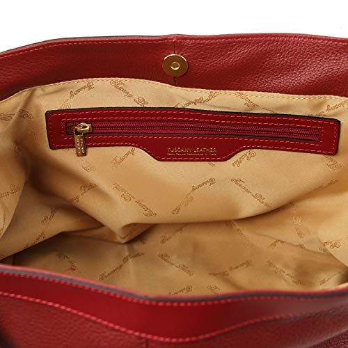 Con Pelle Tuscany Bianco Tracolla Morbida In Borsa Leather Ambrosia Rosso Shopping XqcwX0Cr