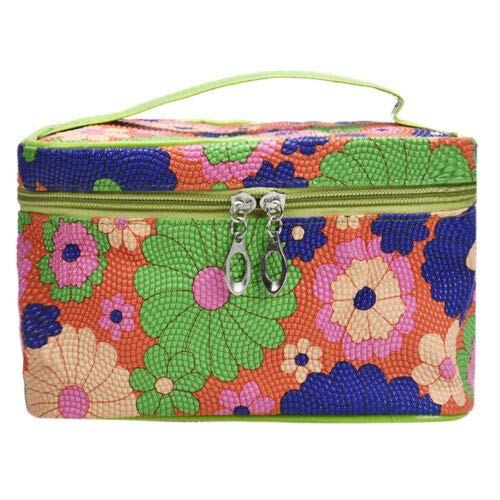 Portable Colorful Fashion Design Bag Square Sunflower Cosmetic Bag (Color - Green)