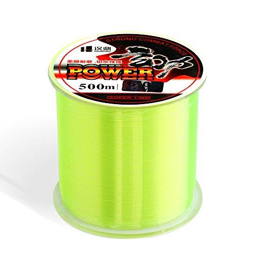 Handing Monofilament Super Power Fluorocarbon Fishing Line Mono Nylon Fish Line 500m/547yard Fluorescent Color 4-32lb Multi-specification Available (Nylon Line Fishing)