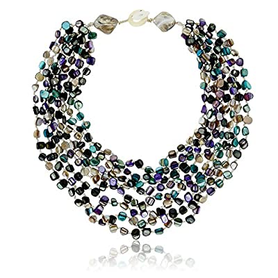 "20"" Purple & Blue MultiColor Genuine Cultured Freshwater Pearls Twist Necklace"