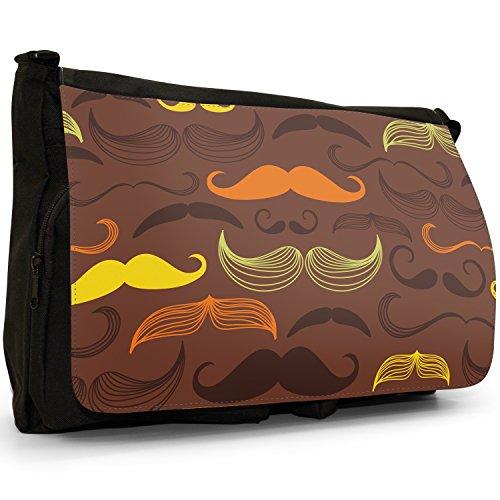 Trendy Moustaches Large Mustache School Hipster Laptop Vintage Messenger Shoulder Retro Black Canvas Bag rFZqrg