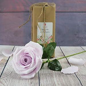 Elegant Purple Lavender Paper Rose for your mystical love, Handmade Art Paper Flower to melt her heart, Ideal for Home Office Decoration Wedding Bouquet, Single Long Stem 2
