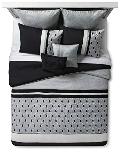 Hallmart Grey & Black Fairmont Embroidered Comforter Set 8 pc King (Set Bed Fairmont)