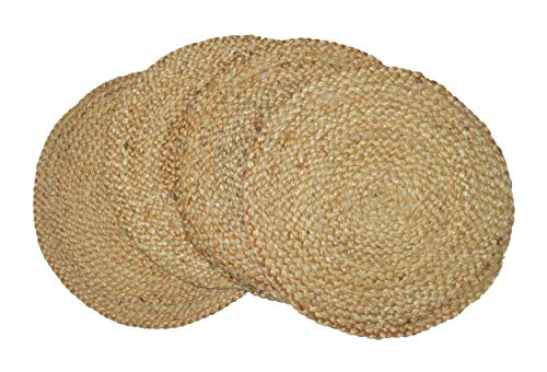 Round Burlap Placemats (Chardin home Round Woven Jute Braided PLACEMAT (Set of 4), Size -15