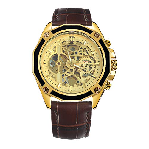 Caluxe Luxury Vintage Men Automatic Mechanical Skeleton Watch Genuine Leather Band Steampunk Design (Brown-Golden) (Luxury Automatic Skeleton)