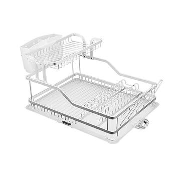 GY Platos Tendedero Escurridor Aluminio 2 Capas con Ranura De Drenaje Cocina Casera Colina Baja Gotitas