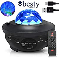 Original BESTY HOME Night Light Baby Star Projector, 10 Color Bluetooth night Lamp with Timer Remote, Dimmable Combinations Romantic Starry Sky Best Gift for Festival Bedroom Living Room (Black)