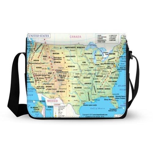 クールギフトUnited Statesマップ、アメリカマップオックスフォード生地メッセンジャークロスボディショルダーバッグ旅行バッグ   B011XJBAQY
