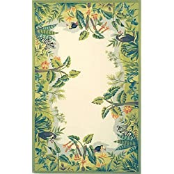 "Safavieh Chelsea Collection HK295A Hand-Hooked Beige and Green Premium Wool Area Rug (1'8"" x 2'6"")"