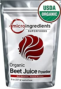 Micro Ingredients Organic Beet Root Juice Powder 8 oz (227g) Non-GMO Natural Nitrates & Best Superfoods