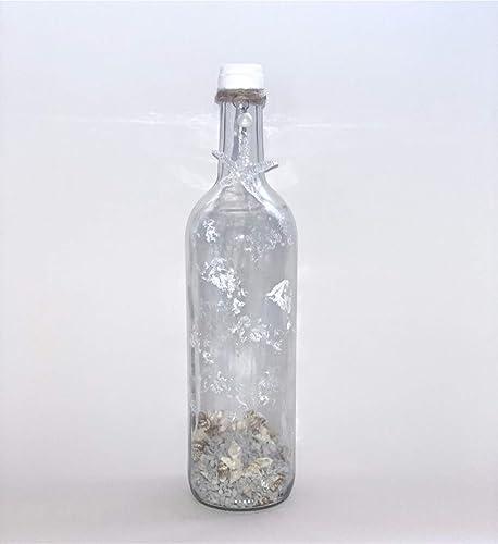 Botella decorativa de vidrio reciclado, pintada a mano ...