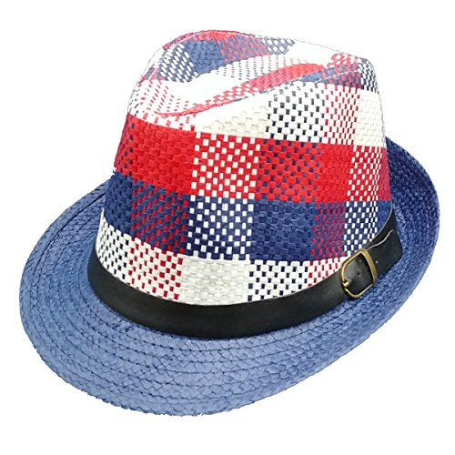 Contemporary Fedora HAT for Men Women Unisex - Novelty Retro Originals New Trilby Styles (Navy Plaid) (Fedora Red Plaid)