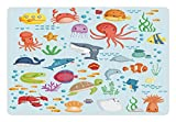 Ambesonne Marine Pet Mat for Food and Water, Bunch of Sea Animals Submarine Crabs Squid Lobster Octobus Seaweed Starfish Stingray, Rectangle Non-Slip Rubber Mat for Dogs and Cats, Multicolor