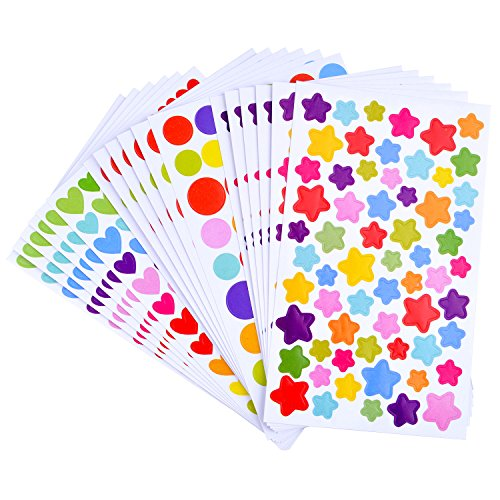 BronaGrand 18 Sheets Self Adhesive Round Dot Stickers Heart Shape Wall Stickers Star Labels Assorted Mixed Colors